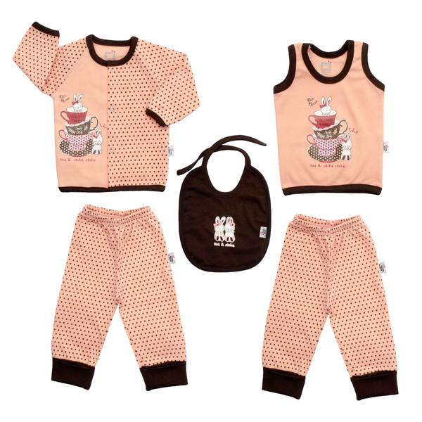 ست 5 تکه لباس نوزادی آدمک طرح فنجان و خرگوش