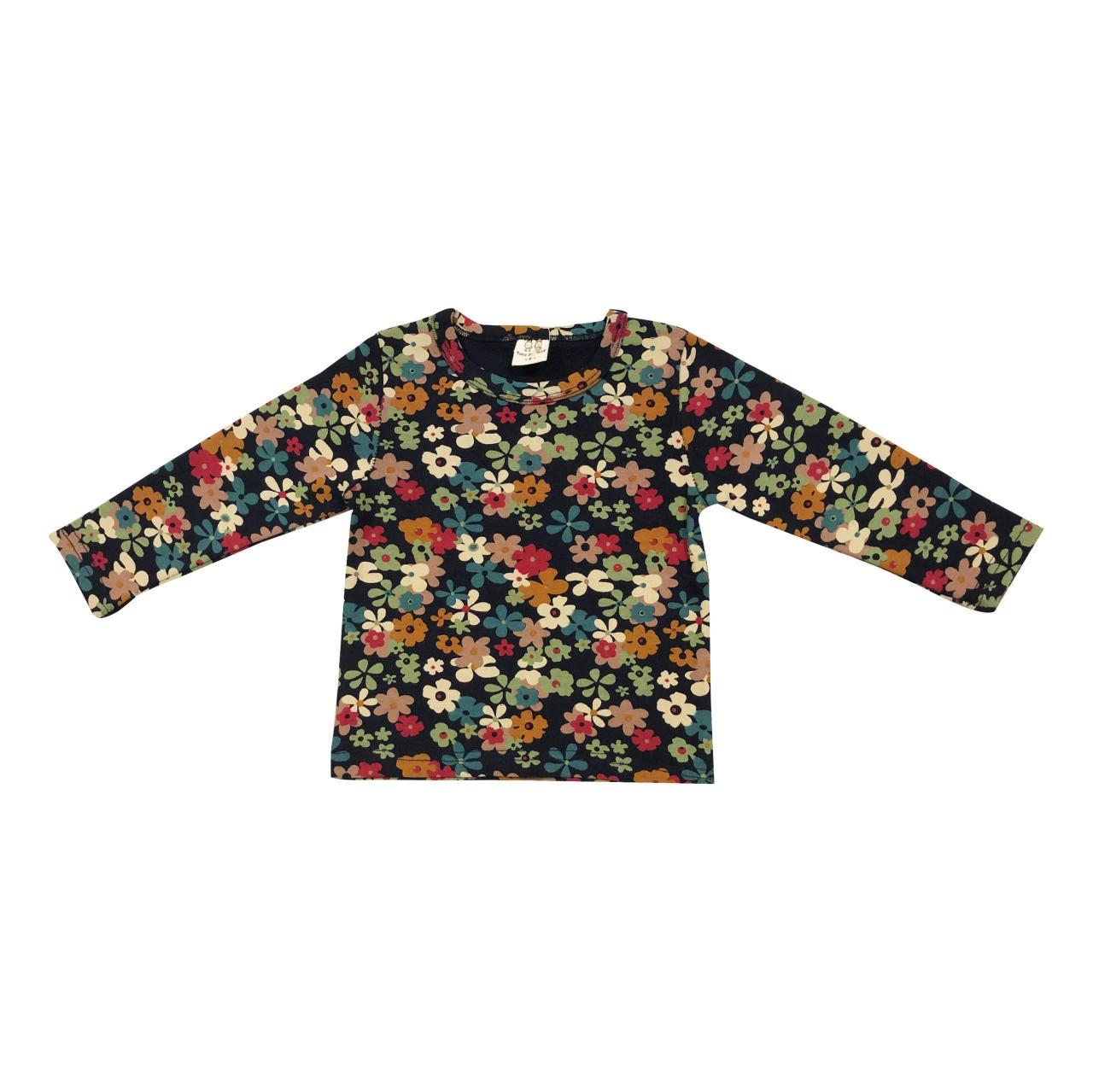 تی شرت آستین بلند دخترانه طرح گل مدل  GOL02