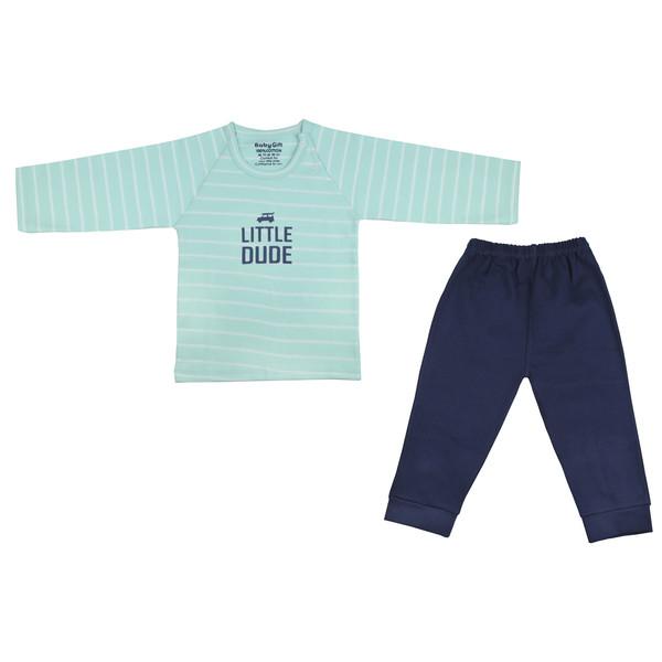 ست تی شرت و شلوار نوزادی پسرانه طرح ماشین کد 55
