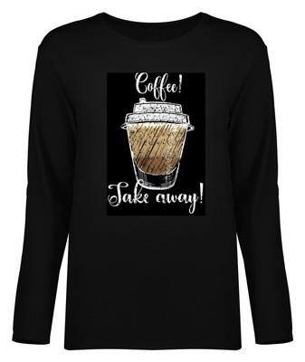 تی شرت آستین بلند زنانه طرح کافه کد 8551