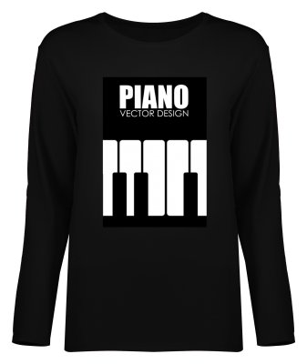 تی شرت آستین بلند زنانه طرح پیانو کد 8555