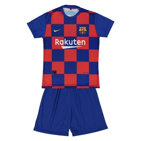 ست پیراهن و شورت ورزشی پسرانه طرح بارسلونا مدل مسی کد 004