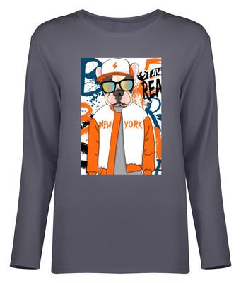 تصویر تی شرت آستین بلند زنانه طرح سگ کد 8717
