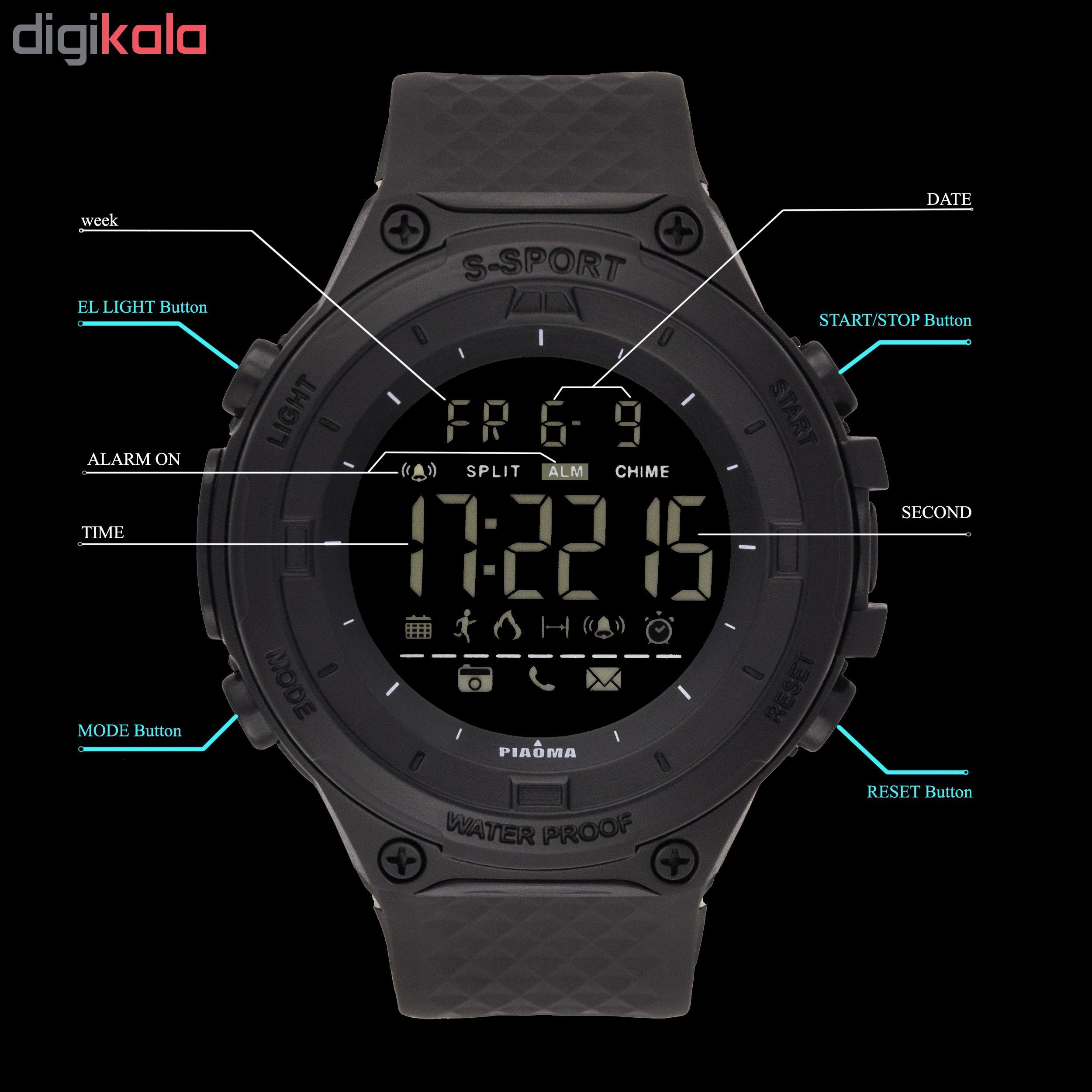 کد تخفیف                                      ساعت مچی دیجیتال مردانه پیائوما مدل SS-CRV