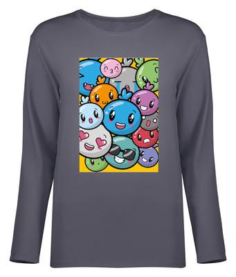 تصویر تی شرت آستین بلند زنانه طرح ایموجی کد 8704