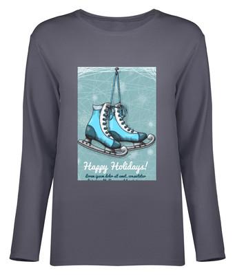 تی شرت آستین بلند زنانه طرح کفش هاکی کد 8637