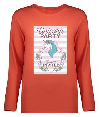 تی شرت آستین بلند زنانه طرح یونیکورن کد 8902