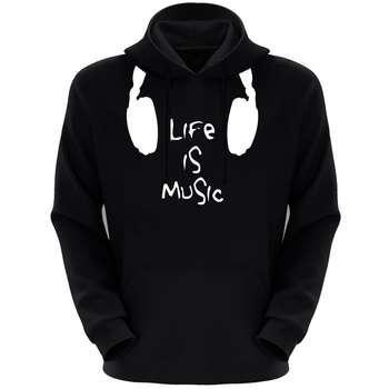 هودی مردانه طرح Music کد S77 رنگ مشکی