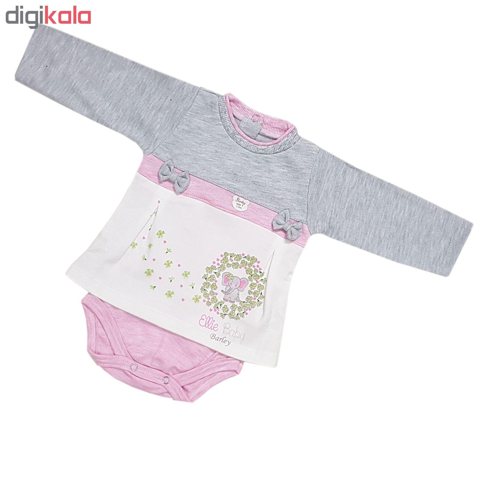 ست بادی و شلوار نوزادی دخترانه طرح فیل 001 main 1 1
