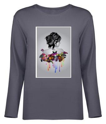 تصویر تی شرت آستین بلند زنانه طرح دختر کد 8705