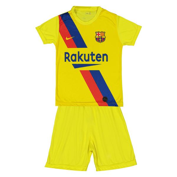 ست پیراهن و شورت ورزشی پسرانه طرح بارسلونا مدل مسی کد p.sh.009