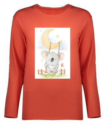 تصویر تی شرت آستین بلند زنانه طرح کوالا کد 8891