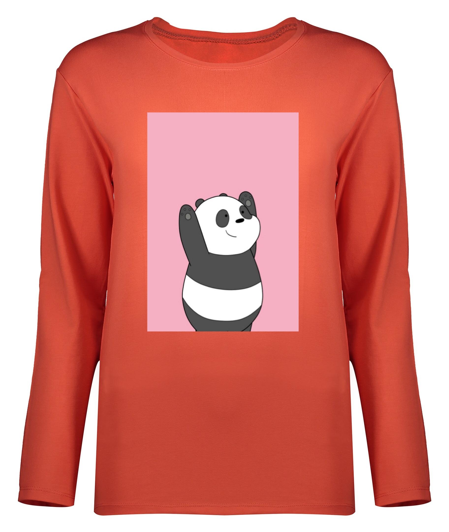 تی شرت آستین بلند زنانه طرح پاندا کد 8897
