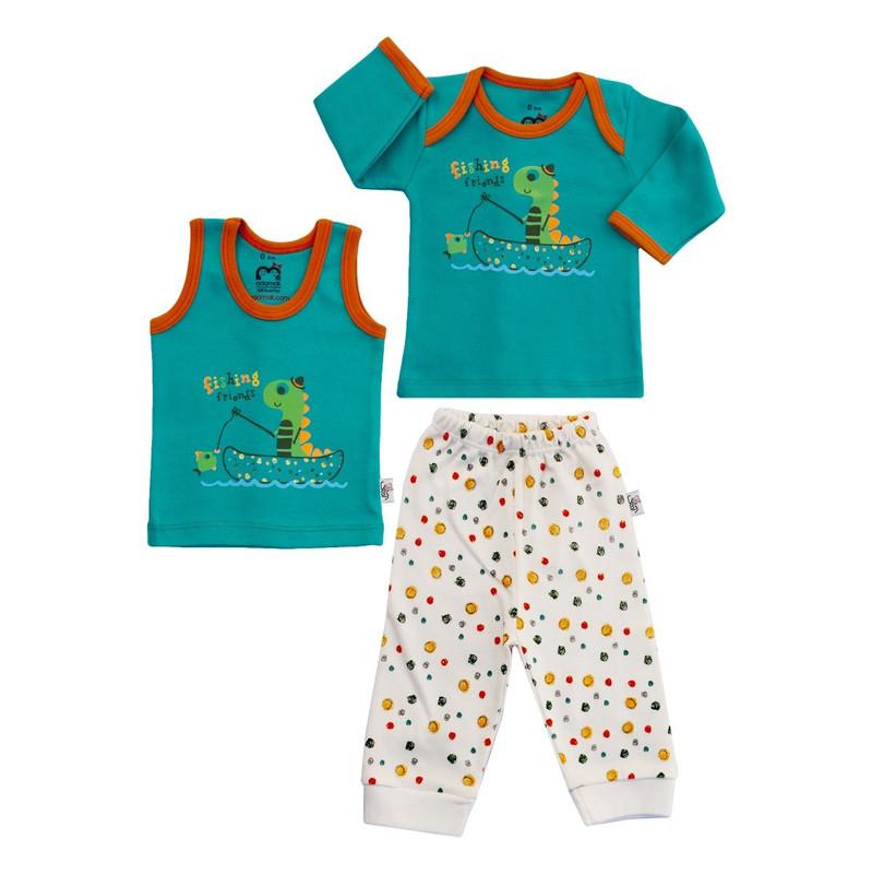 ست سه تکه لباس نوزادی آدمک طرح دایناسور