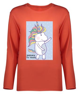 تی شرت آستین بلند زنانه طرح یونیکورن کد 8903
