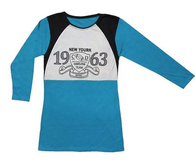 تی شرت آستین بلند زنانه طرح New york رنگ آبی