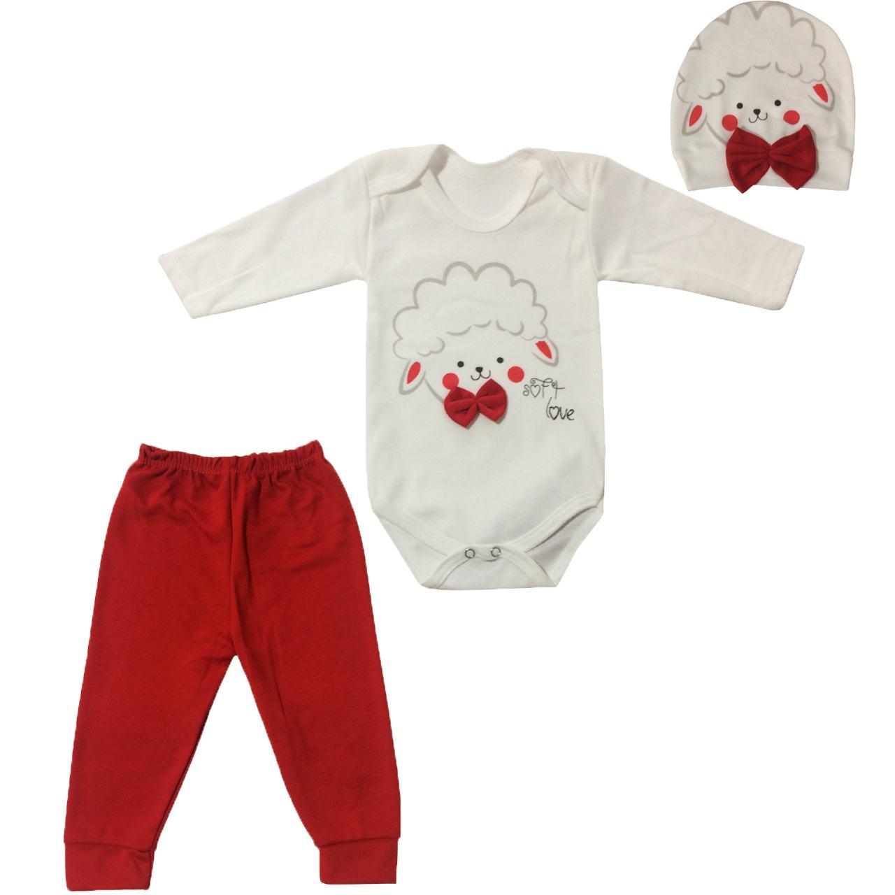 ست 3 تکه لباس نوزادی طرح بره مدل PK-H252 -  - 2