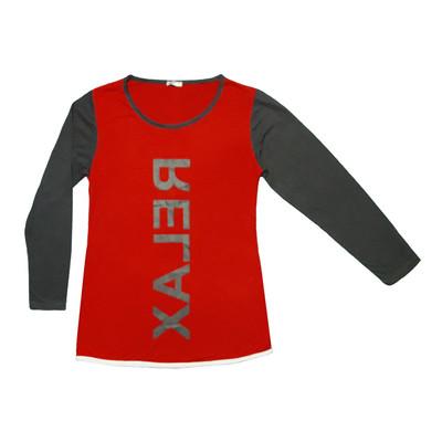 تی شرت آستین بلند زنانه طرح RELAX رنگ قرمز