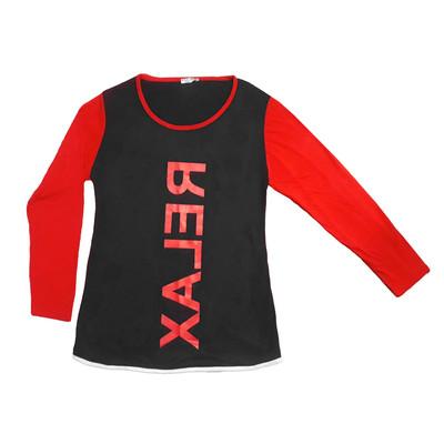 تصویر تی شرت آستین بلند زنانه طرح RELAX کد 007