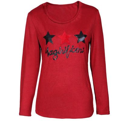 تصویر تی شرت زنانه کد 117-10 رنگ زرشکی