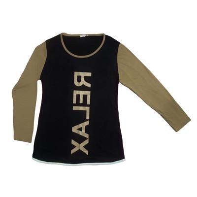 تی شرت آستین بلند زنانه طرح RELAX رنگ مشکی
