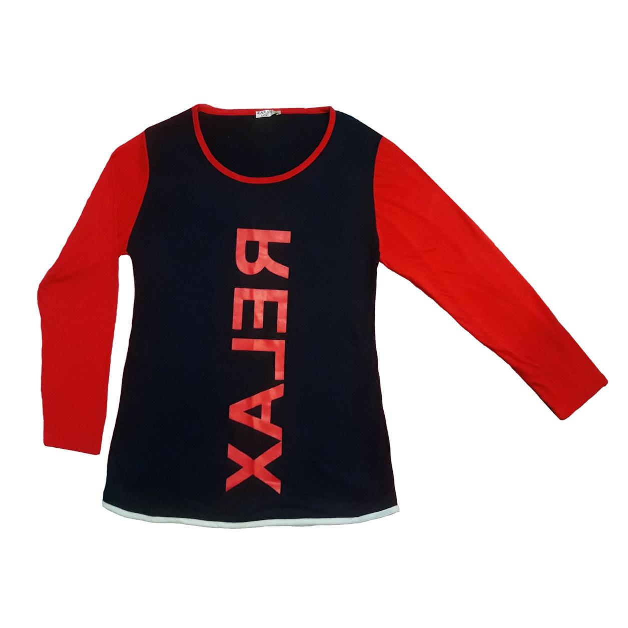 Photo of تی شرت آستین بلند زنانه طرح RELAX رنگ سرمه ای