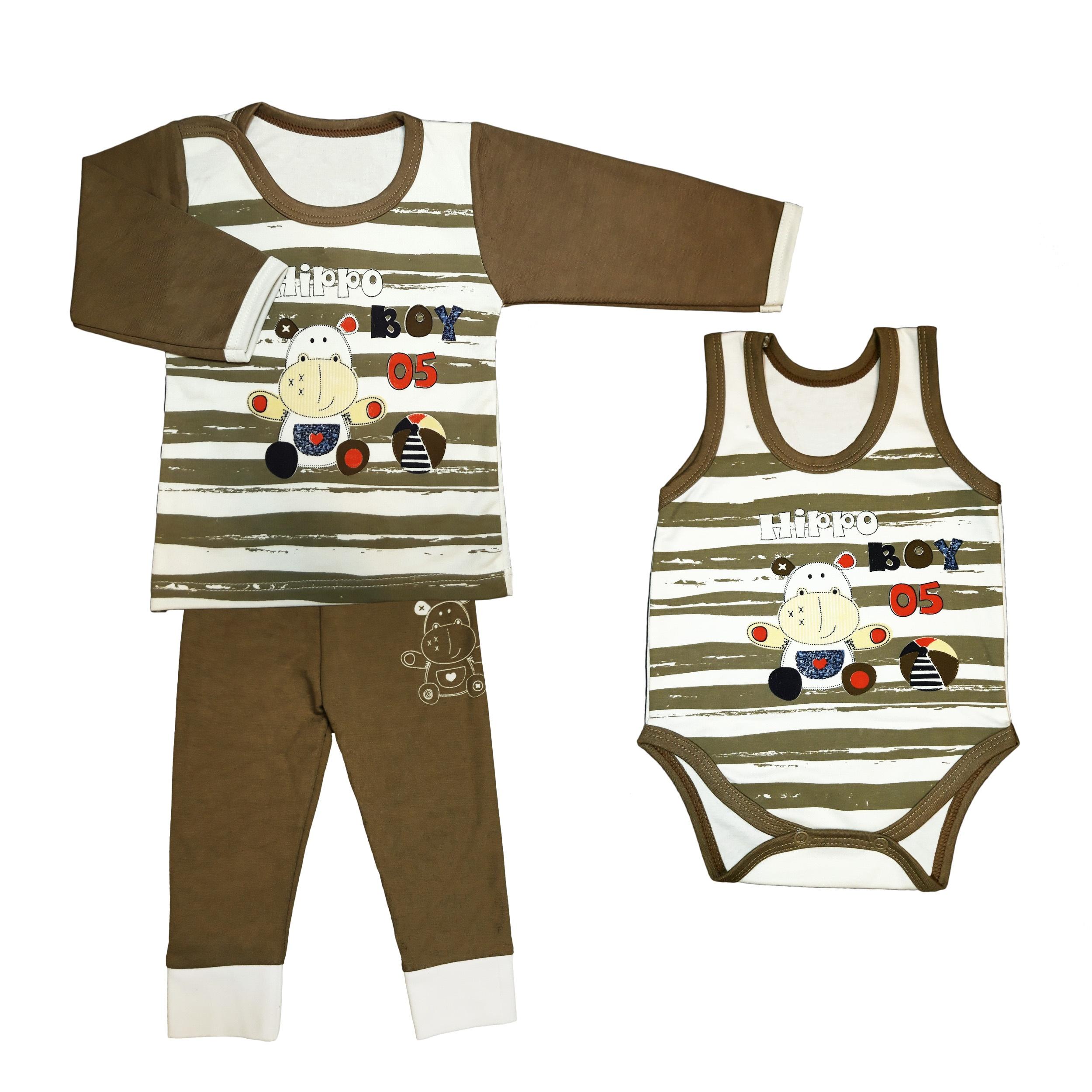 ست 3 تکه لباس نوزادی طرح hippo
