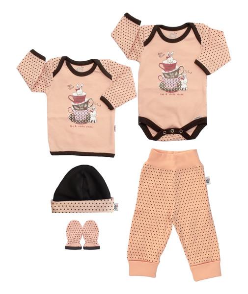 ست 5 تکه لباس نوزادی آدمک طرح فنجان و خرگوش کد 02