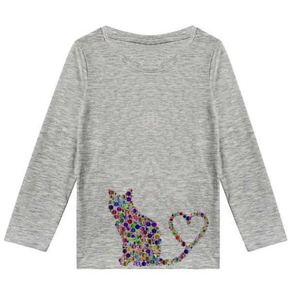تیشرت آستین بلند دخترانه طرح گربه قلبی کد K32