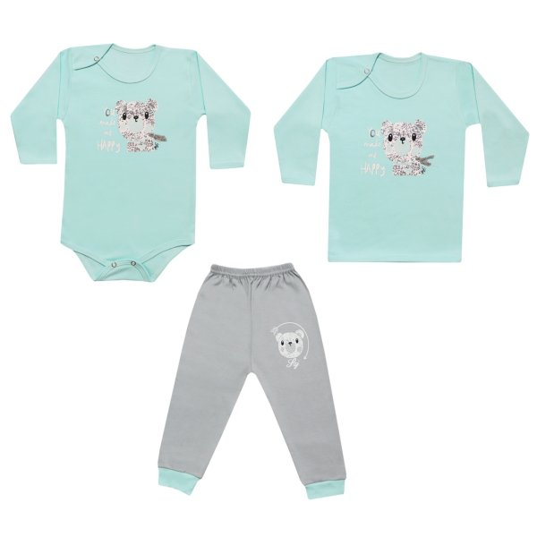 ست 3 تکه لباس نوزاد طرح خرس کد RL-08