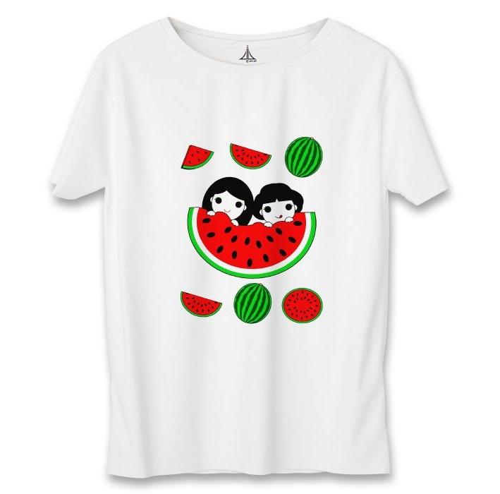 تی شرت زنانه به رسم طرح یلدا هندوانه کد 5558