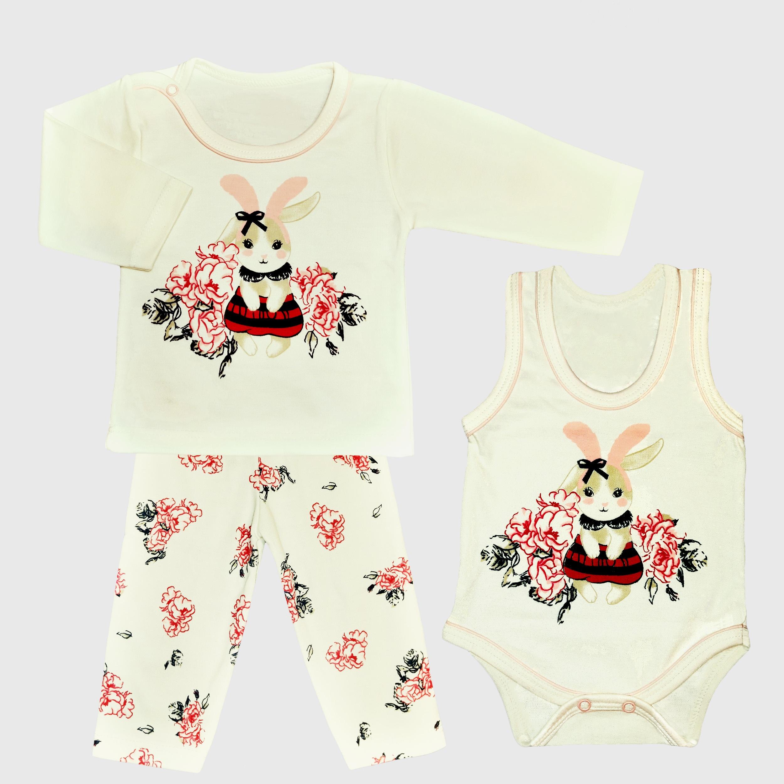 ست 3 تکه لباس نوزادی دخترانه طرح خرگوش