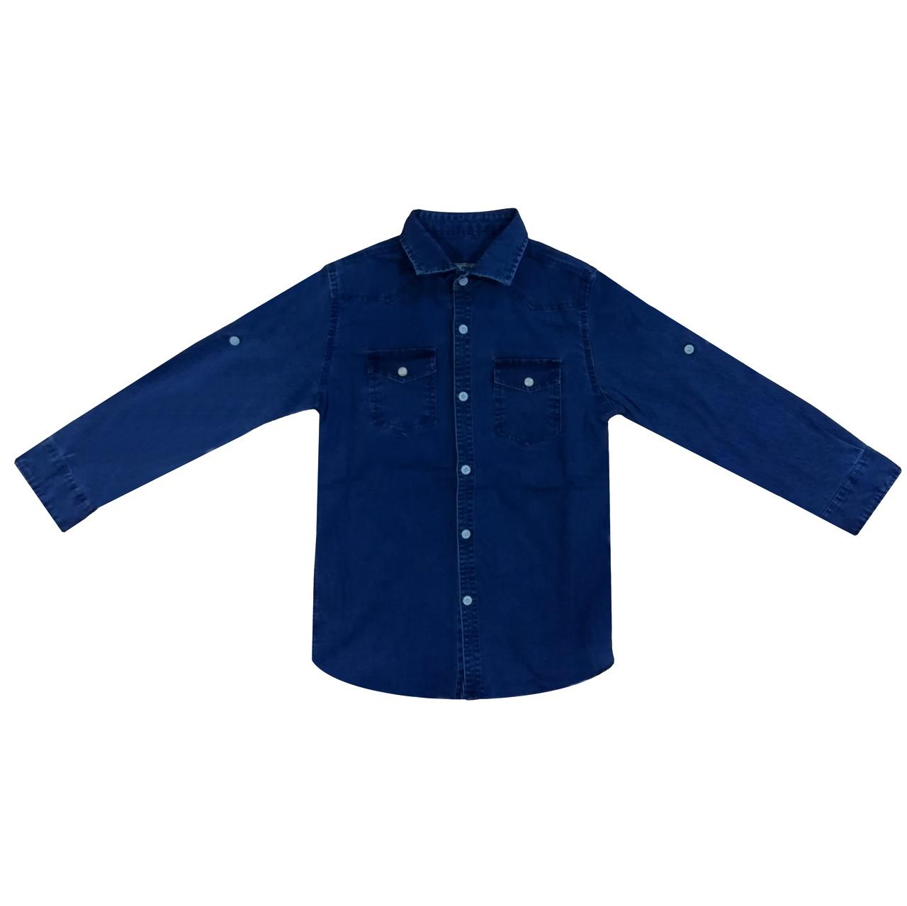 پیراهن پسرانه کد 980812 رنگ آبی تیره