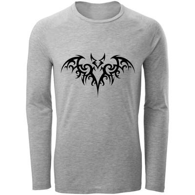 تصویر تی شرت آستین بلند مردانه طرح تتو خفاش  کد F23