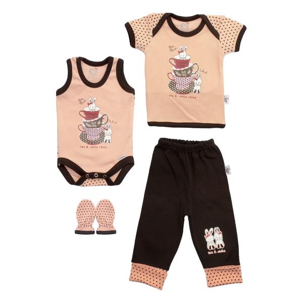 ست 4 تکه لباس نوزادی آدمک طرح فنجان و خرگوش