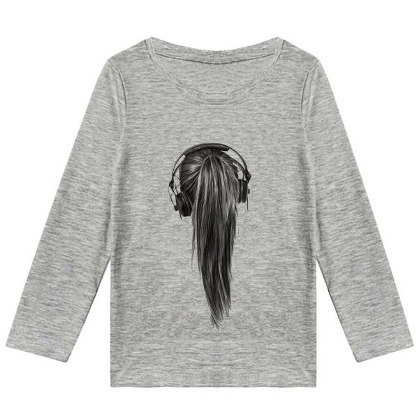 تیشرت آستین بلند دخترانه طرح Hair کد K13