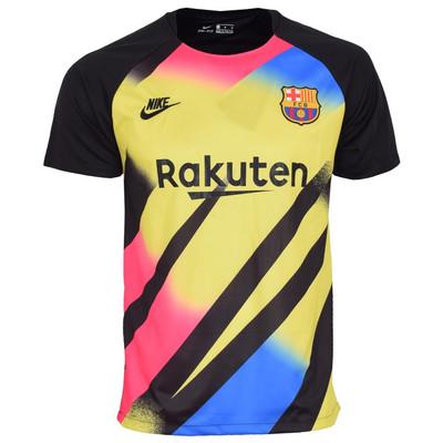 تصویر تیشرت ورزشی مردانه طرح بارسلونا کد 2019.20 رنگ مشکی زرد