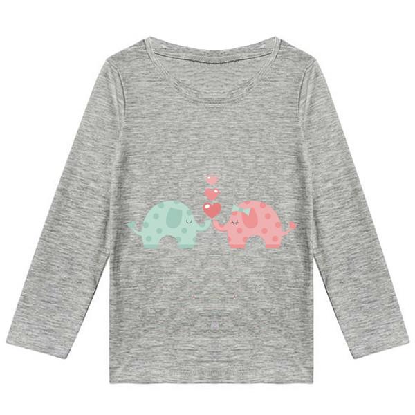 تیشرت آستین بلند دخترانه طرح فیل کد K11