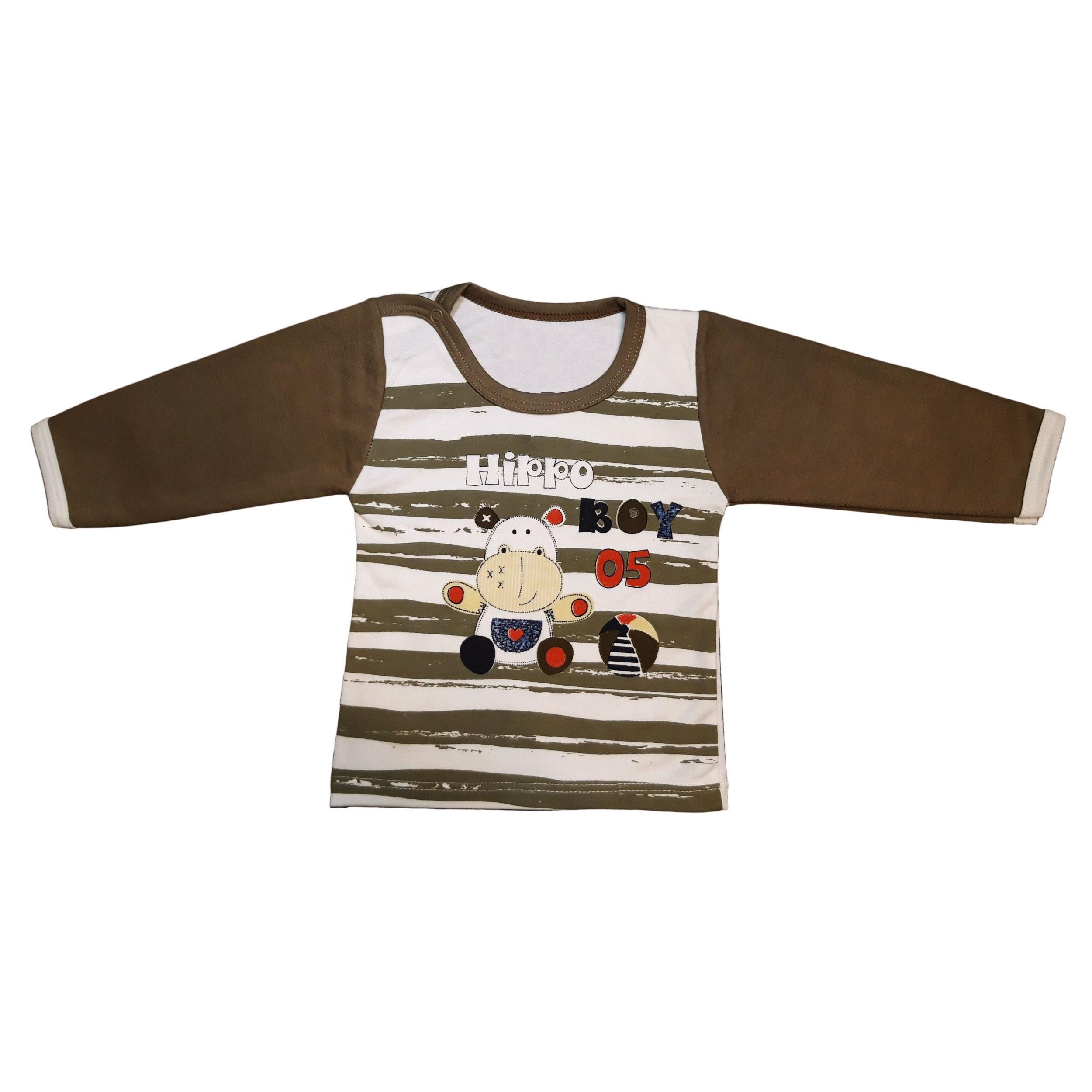 ست تی شرت و شلوار نوزادی پسرانه طرح hippo