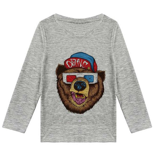تیشرت آستین بلند پسرانه طرح خرس  کد K24