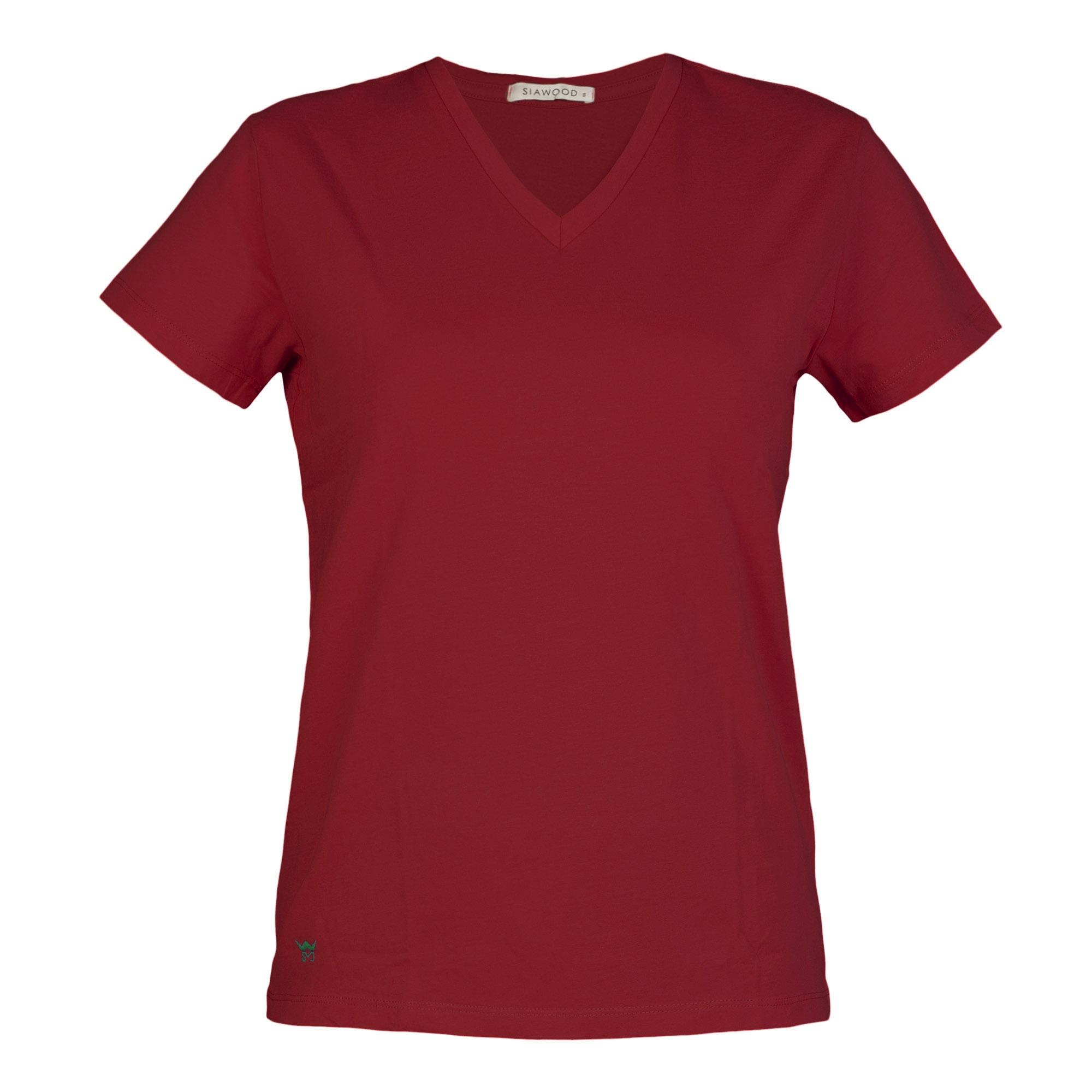 تي شرت زنانه سیاوود مدل V-BASIC کد 6100400-R0211 رنگ زرشکي