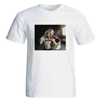 تی شرت آستین کوتاه زنانه طرح دختر ویالن زن کد 26040