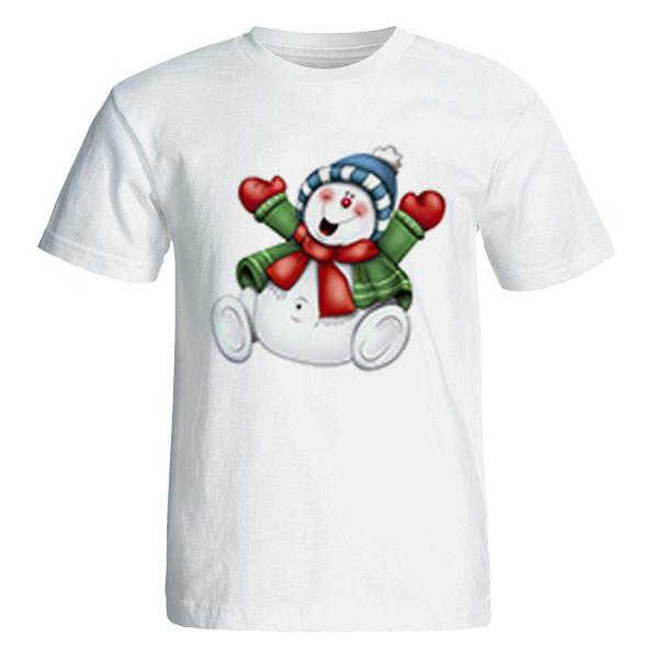 تی شرت آستین کوتاه زنانه طرح آدم برفی کد 26037