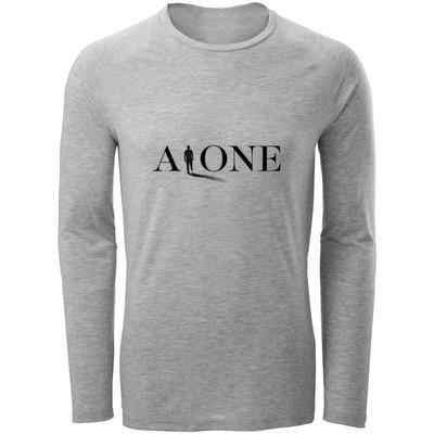 تی شرت آستین بلند مردانه طرح Alone کد F54