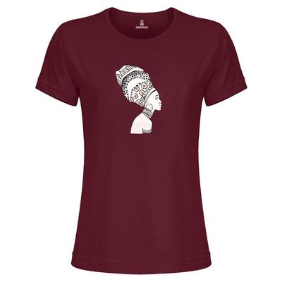 تی شرت زنانه ساروک مدل TZYUYRCH- African 01 رنگ زرشکی