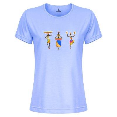 تصویر تی شرت زنانه ساروک مدل TZYUYRCH- 3AfricanO 09 رنگ آبی