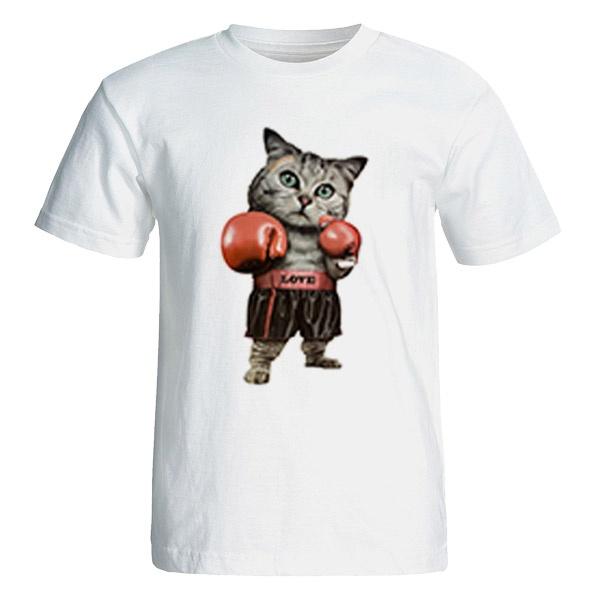 تی شرت آستین کوتاه نه طرح گربه ورزشکار کد 26041