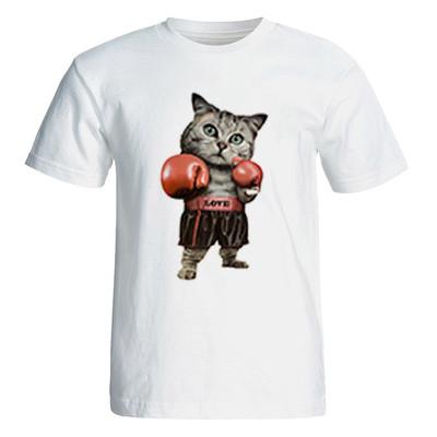 تی شرت آستین کوتاه زنانه طرح گربه ورزشکار کد 26041
