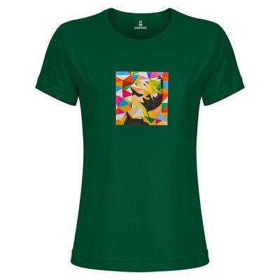 تی شرت زنانه ساروک طرح مرلین مدل TZYUYRCH رنگ یشمی