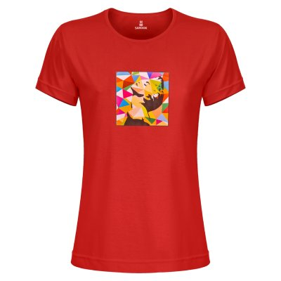 تی شرت زنانه ساروک طرح مرلین مدل TZYUYRCH رنگ قرمز